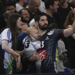 Karabatic Nikola and his family after 25th IHF men's world championship 2017 match between France and Slovenia at Accord hotel Arena on january 26 2017 in Paris. France. 