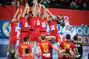 Team Macedonia during the EHF EURO Croatia 2018 - Preliminary round - Group C - Germany vs Fyr Macedonia in Arena Zagreb, Zagreb, Croatia, 17.1.2018, Mandatory Credit © HRS / Nebojsa Tejic