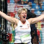 (160815) -- RIO DE JANEIRO, Aug. 15, 2016 (Xinhua) -- Poland?s Anita Wlodarczyk celebrates during the women's hammer throw final of Athletics at the 2016 Rio Olympic Games in Rio de Janeiro, Brazil, on Aug. 15, 2016. Anita Wlodarczyk won the gold medal and smashed the world record with 82.29m. (Xinhua/Wang Lili) (xr) 15.08.2016 Rio de Janeiro Brazylia Igrzyska Olimpijskie Rio 2016 Olimpiada rzut mlotem FOTO Xinhua / SIPA / PressFocus  POLAND ONLY!!