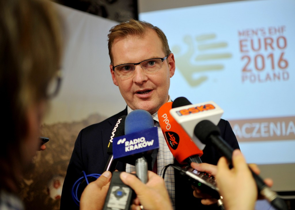 2015.10.07 KRAKOW PILKA RECZNA  - HANDBALL MENS EHF EURO 2016 POLAND KONFERENCJA 100 DNI DO EHF EURO 2016   N/Z MARCIN HERRA FOTO RAFAL RUSEK / PRESSFOCUS