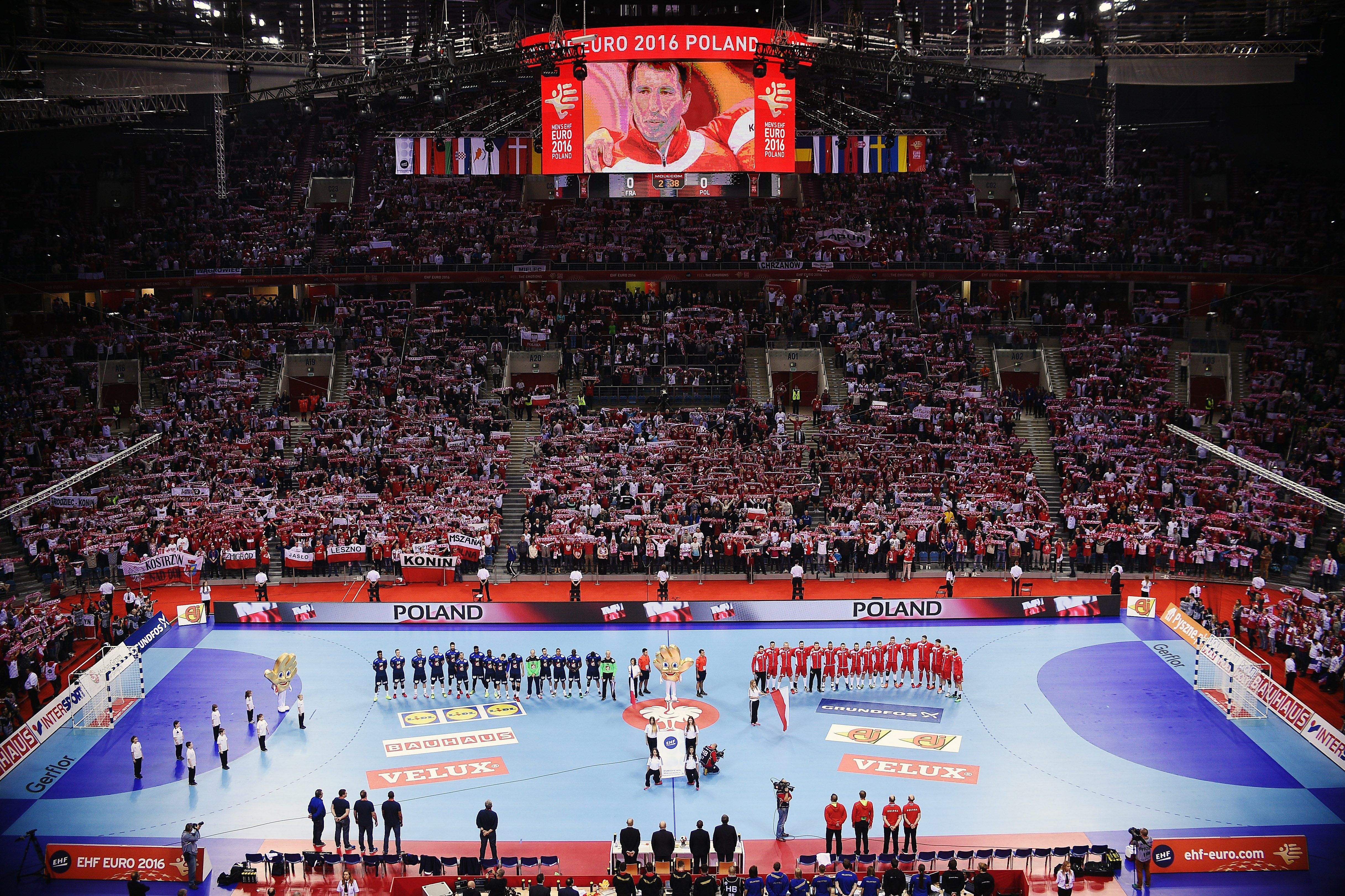 2016.01.19 Krakow Pilka reczna EHF Euro 2016 Mistrzostwa Europy w pilce recznej mezczyzn Francja - Polska N/Z widok ilustracja FOTO Lukasz Laskowski / Pressfocus  2016.01.19 Krakow Handball EHF Euro Poland 2016  France vs Poland Tauron Arena Krakow view FOTO Lukasz Laskowski / Pressfocus