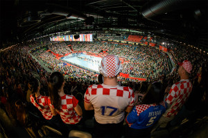 Supporters of team Croatia during the EHF EURO Croatia 2018 - Main round - Group 1 - Croatia vs Norway in Arena Zagreb, Zagreb, Croatia, 20.1.2018, Mandatory Credit © HRS / Nebojsa Tejic