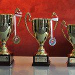 Puchary i medale dla triumfatorów MP Masters Kalisz 2018 /Fot. J.Gucma (ZPRP)
