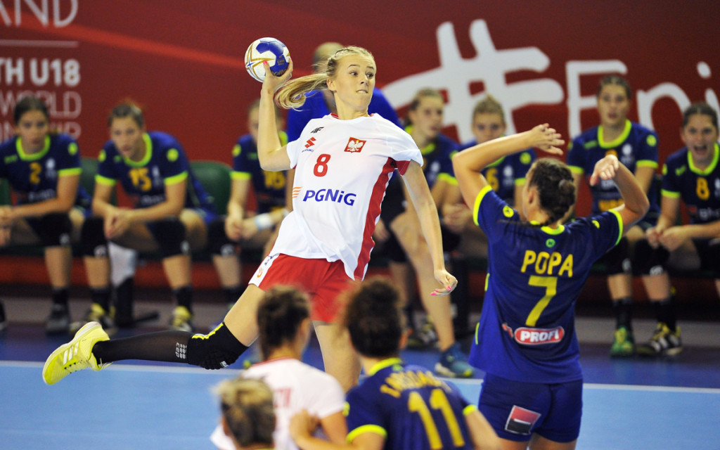 2018.08.10 Kielce Pilka reczna Mlodziezowe Mistrzostwa Swiata w Pilce Recznej Kobiet do lat 18 Rumunia - Polska N/z {persons} Foto Lukasz Sobala / Press Focus 2018.08.10 Kielce Handball IHF Youth U18 Womens World Championship 2018 Romania - Poland {persons} Credit: Lukasz Sobala / Press Focus