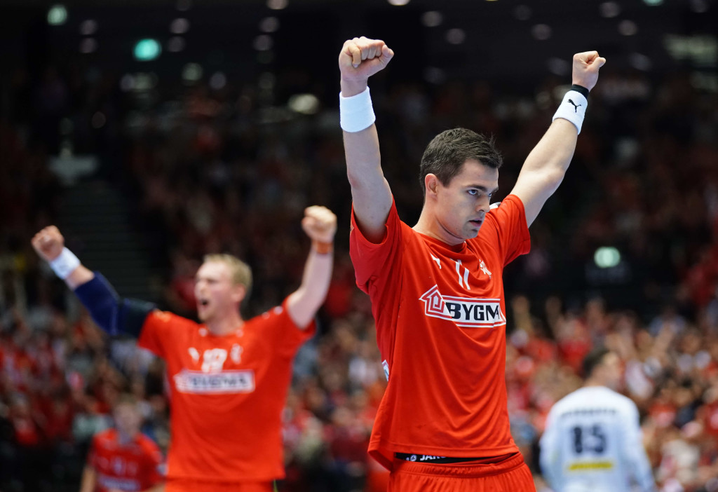 15.01.2019 Handball, World Cup, Herning Sports Center, Herning, Mens Handball World Championships 19, Denmark - Austria, Austria - Denmark, AUT - DEN, celebration, Rasmus Lauge, . 15.01.2019 Herning Pilka reczna Mistrzostwa Swiata 2019: Dania - Austria Foto: Pixathlon / SIPA / Pressfocus