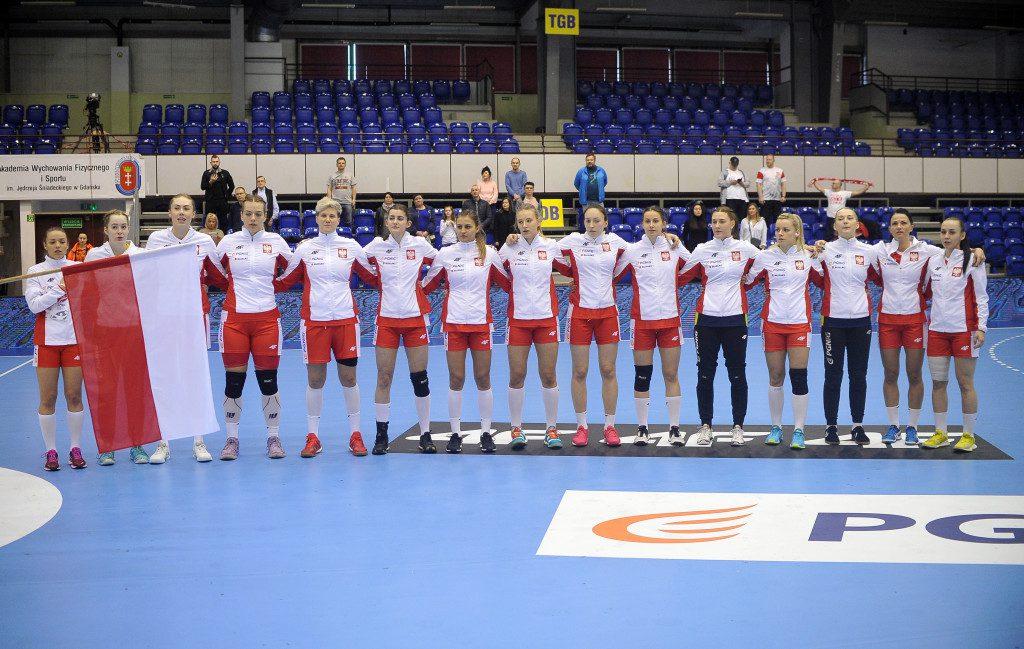 2019.03.24 Gdansk Pilka reczna Baltic Handball Cup 2019 Polska B - Rumunia B N/z Polska hymn grupowe Foto Norbert Barczyk / PressFocus